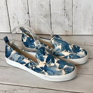H&M Blue and White Floral Slip-on Sneaker